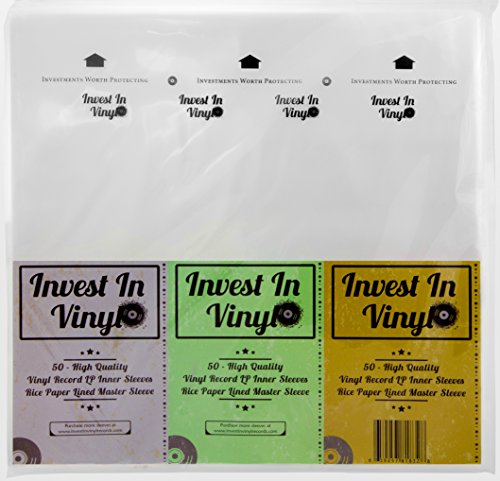 12 Inch Single Vinyl Disc (50 Master Sleeves Rice Paper Anti Static LP Inner Sleeves Vinyl Record Sleeves Provide Your LP Collection with the Proper Protection - Invest In Vinyl)