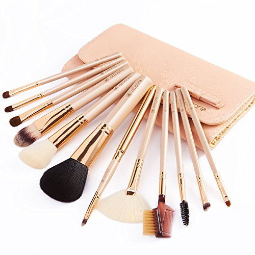 amoore 12Pcs Makeup Brushes Makeup Brush set Makeup Brush with Case Foundation Brush Powder Brush