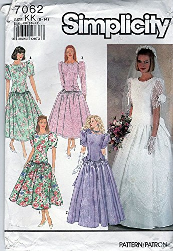 - Simplicity Pattern 7062 ©1990 Misses/Petite Bridal and Bridesmaid Gowns; Size 8-14