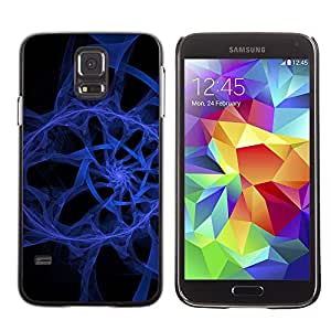 LECELL -- Funda protectora / Cubierta / Piel For Samsung Galaxy S5 SM-G900 -- Abstract Blue Spiral --