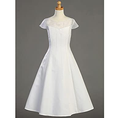 Amazon Lito Plus Size Girl White Tea Length First Communion
