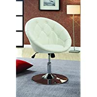 Coaster Home Furnishings  Contemporary Height Adjustable Round Back Tufted Swivel Accent Chair - White Faux Leather
