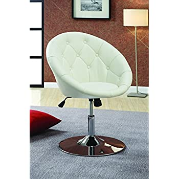 Awesome Coaster Contemporary Swivel Accent Chair With Faux Leather Upholstered Seat  And Button Tufting Back, White