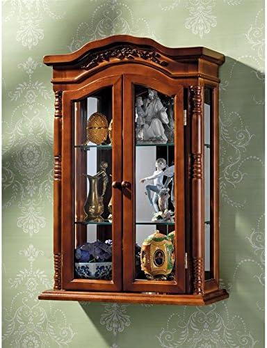 Amazon Com Design Toscano Beacon Hill Hardwood Wall Curio Cabinet Oak Furniture Decor