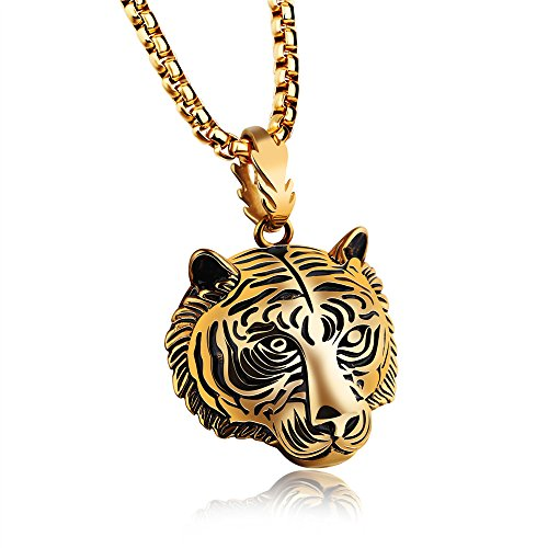 Marwar 2018 New Fashion Jewelry Animal Tiger Shaped Necklaces Tiger Head Pendant Necklaces Gold Color Plated Gift (Gold)