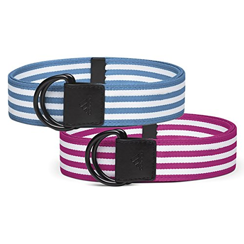 adidas Women's Stripe Webbing Belt 2-Pack: Magenta & Blue (Webbing Belt Stripe)