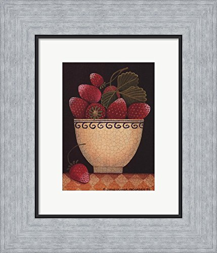 Cup O'Strawberries by Diane Ulmer Pedersen Framed Art Print Wall Picture, Flat Silver Frame, 11 x 13 inches