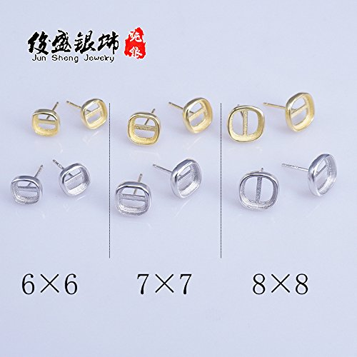 Mens Ring Mounting (925 Silver Gold earring amber beeswax simple square bracket mountings accessories men women 6 - 6-7 - 7-8 - 8)