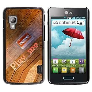 QCASE / LG Optimus L5 II Dual E455 E460 / jugarme cotización casete 90s arte de la música / Delgado Negro Plástico caso cubierta Shell Armor Funda Case Cover