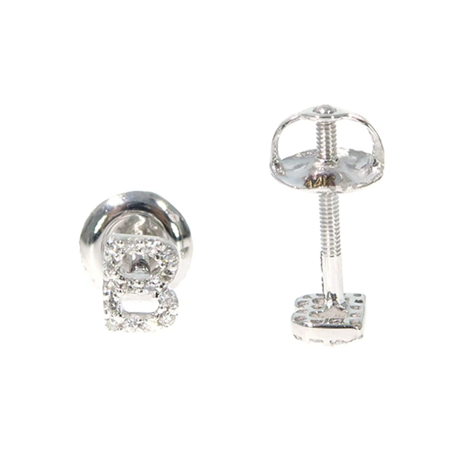Amazon: 14k White Gold Genuine Real Round Cut Diamond Initial Letter  Stud Earrings With Secure Screw Backs (b): Jewelry