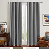 grey thermal blackout curtains - Grey Blackout Curtains for Bedroom Thermal Insulated Antibacteria Curtain Panels Dupioni Window Drapes for Living Room (2 Panels, 54