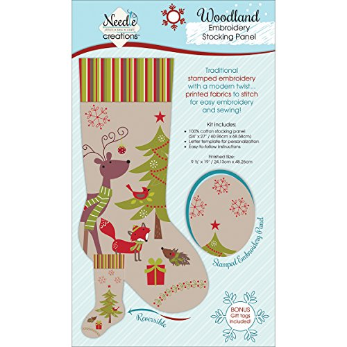 (Christmas Stocking Panel For Embroidery-Woodland Creatures )