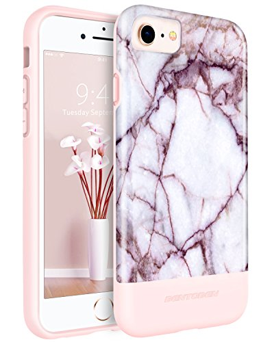 iPhone 8 /7 Case Marble BENTOBEN Slim Shockproof Rubber Phone Case for iPhone 8 / 7 Blood Marble