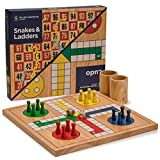Wooden Snakes and Ladders | Ludo Game Set, Reversible, 2 Games in 1