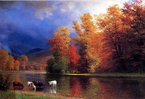 $50-$4000 Hand Painted Art Paintings by College Teachers - On The Saco Albert Bierstadt Landscape Scenery Oil Painting Reproduction for Wall Decor Canvas Old Famous -Size03 ()