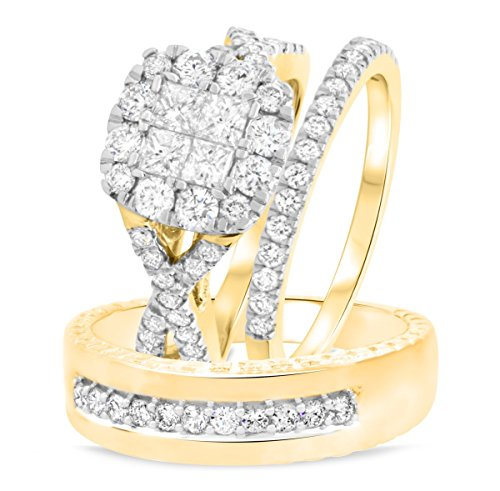 3djewels 2 Ct Sim Diamond Men's & Ladies 3 Piece Trio Engagement Ring Set 14K Yellow Gold Fn 14k Yg Mens Ring