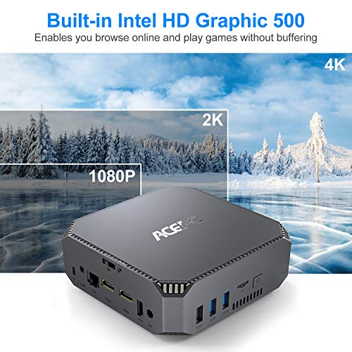 Mini PC,Intel Celeron J3455 Windows 10 Pro Mini Computer, 6GB DDR3 120GB SSD HD Graphics 4K Dual Output Gigabit Ethernet Dual Band Wi-Fi Bluetooth 4.2