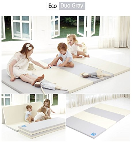 [Alzip Mat] Baby Playmat - ECO Color Folder Duo (Non-Toxic, Non-Slip, Waterproof) (Eco Duo Gray, XG) by Alzipmat (Image #1)