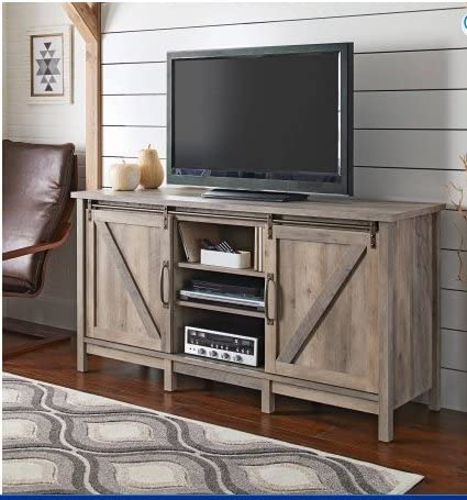 Better Homes and Gardens Modern Farmhouse TV Stand Entertainment Center for TVs up to 60 , Rustic Gray Finish