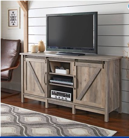 """Better Homes and Gardens Modern Farmhouse TV Stand/Entertainment Center for TVs up to 60"""", Rustic Gray Finish"""