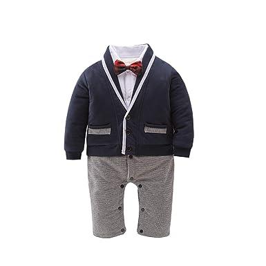 18f56442c5c91 AIKSSOO Baby Boy Gentleman Romper épais avec Manteau Tenues d hiver Costume  de Mariage  Amazon.fr  Vêtements et accessoires