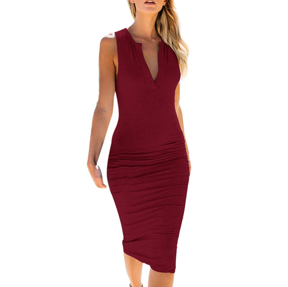 【MOHOLL】 Women's Sleeveless V Neck Ruched Bodycon Midi Tank Dress Wine