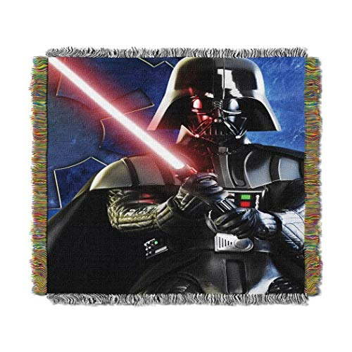 1 Piece 48 X 60 Kids Black Blue Starwars Theme Throw Blanket, Novelty Geometric Darth Vader Red Light Saber Sith Lord Space Star Wars Galaxy Pattern Accent Bedding Couch Sofa Bedroom Bed, Polyester ()
