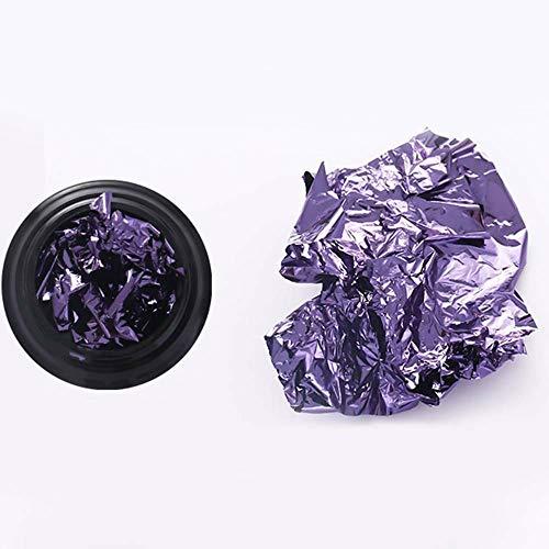 (Colorful Gold Silver Aluminum Foil Paper Nail Art Glitters Sticker DIY Manicure (Color - purpleblack))
