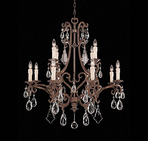 Six Chandelier Florence Light (Savoy House 1-1403-12-56 Chandelier with Full Cut Clear Crystals Shades, Brown Tortoise Shell Finish)