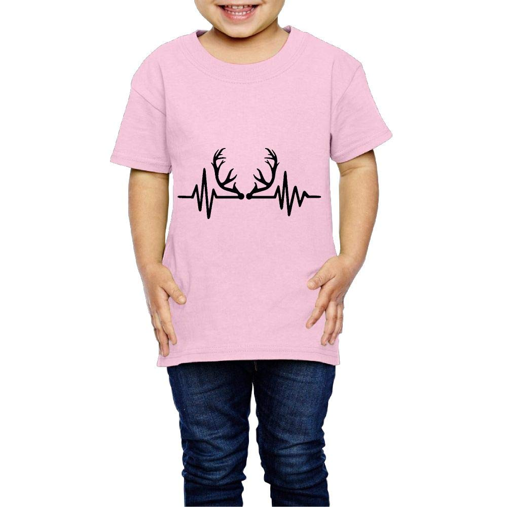 XYMYFC-E Deer Antlers Heartbeat 2-6 Years Old Child Short Sleeve Tshirt