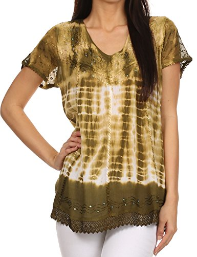 Sakkas 776 - Violet Embroidery Tie Dye Sequin Accents Blouse / Top - Army Green - OSP (Plus Size Stores)