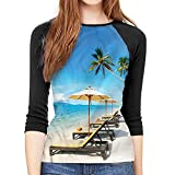Coastal Tops Chairs Umbrella and Beach Soft Pullover Tops,S-XXL(This is for Size Large)