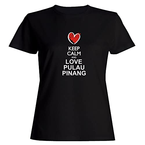 Idakoos Keep calm and love Pulau Pinang chalk style Maglietta donna