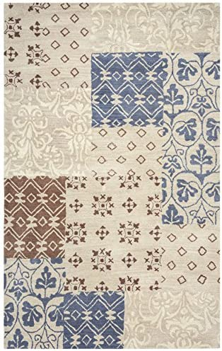 Rizzy Home Palmer Collection Wool Area Rug, 8 x 10 , Multi Khaki Ivory Brown Grey Patchwork