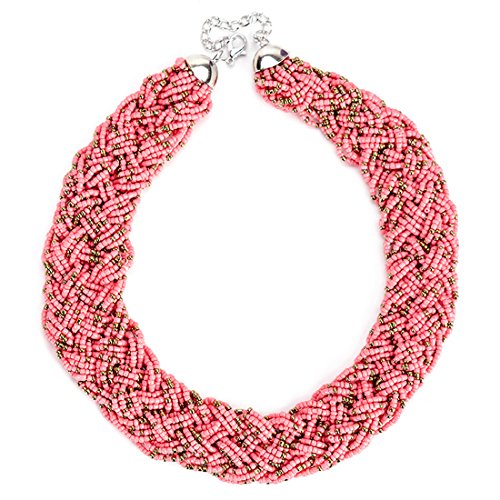 [Nowyi Women's Vintage Pink Bib Resin Beaded Chunky Necklace Choker Statement Fashion Elegant Costume Jewelry] (Jokers Girlfriend Costume)