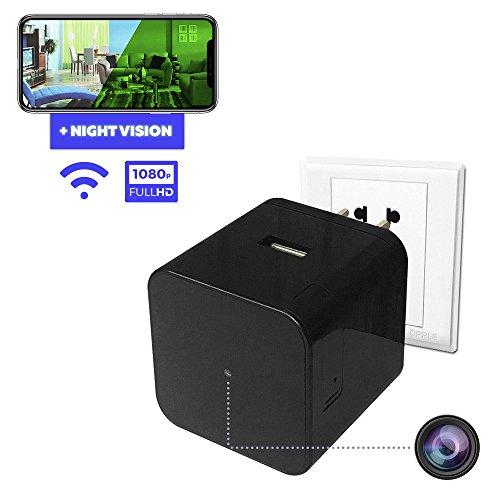Spy Camera - Hidden Camera - Home Security Camera - Wifi Camera - Nanny Spy Cam - Night Vision Camera with Motion Detector - Wireless Ip Camera System - Small Spy Cameras - Usb Wall Charger Camera (Vision Cam Mini Night)