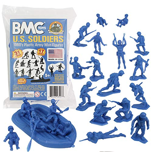 BMC Marx Plastic Army Men US Soldiers - Blue 31pc WW2 Figures - Made in ()