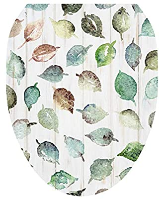 Lena Fiore - Removal Toilet Lid Decal/Applique, Shiplap Leaves (Elongated TT-1162-O)