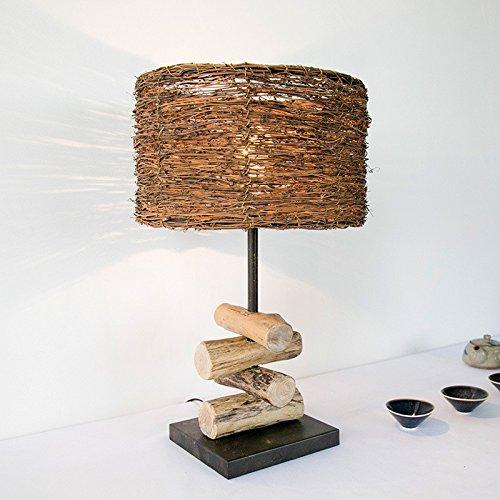 Village Simple Decoration Wooden Bedroom Study Wood Rattan Table Desk Bedside Lamp Light 300X530Mm,B by GAW Lighting Co.Ltd (Image #7)