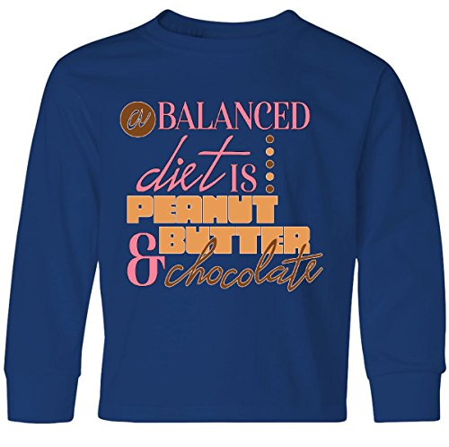Inktastic - A Balanced Diet is Youth Long Sleeve T-Shirt Youth Large Royal Bue - 811 Cocoa