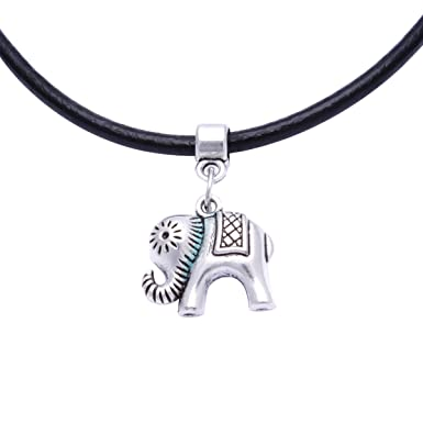 Black Real Leather Cord Charm Choker Necklace Pendant Retro Hippy Tibetan Silver For Women Girl QNpCH
