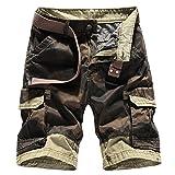 Yollmart Men's Casual Multi-Pocket Combat Comfort Cargo Short Pants-khaki-US36/Tag38