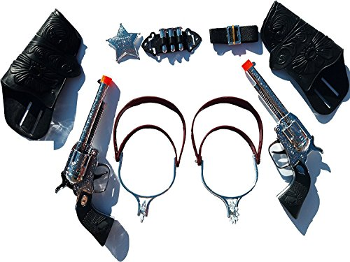 Toy Set Holster (Top Selling Toy Cowboy Gun & Holster Set with Sheriff Badge, Belt and Spurs)