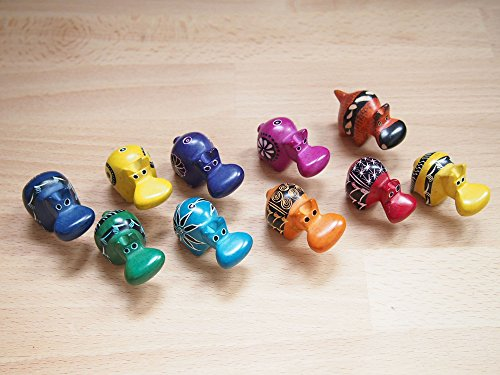 African Soapstone Mini Hippo Set of 10, Made in Kenya, Assorted Colors (Hand Carved Hippo)
