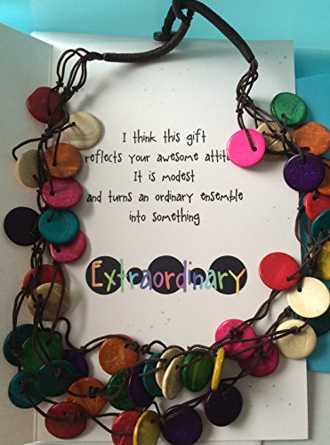 Shell Medallion Necklace (Smiling Wisdom - Rainbow You're Extraordinary Greeting Card Gift Set - Colorful 3 Strand Wood Bead Necklace - Teal Red Orange White Blue Yellow - Coconut Shell Wood - For Her, Friend, Woman)