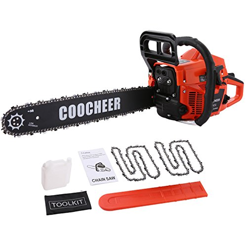 62cc 20″ Petrol Chainsaw with 2 chains, Coocheer Gas Powered Chain Saw Cutting Wood Outdoor Use