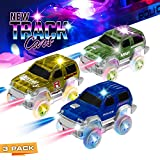Khair Track Race Cars 3 Pack, 5 LED Light Up Replacement Glow in The Dark Car | Track Accessories | Independent & Compatible with All Tracks | for Boys & Girls