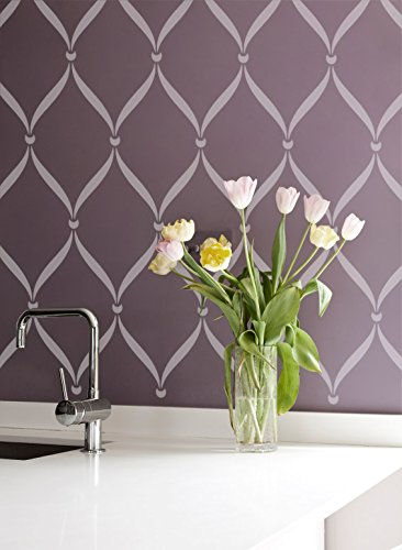Painting Wallpaper - Ribbon Lattice Wall Stencil for DIY Painting Wallpaper Look