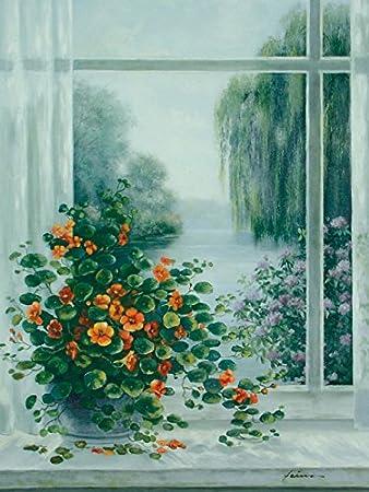 Artland Poster Kunstdruck Aufgezogen Auf Holz Platte Wand Bild A. Heins  Kapuzinerkresse Am