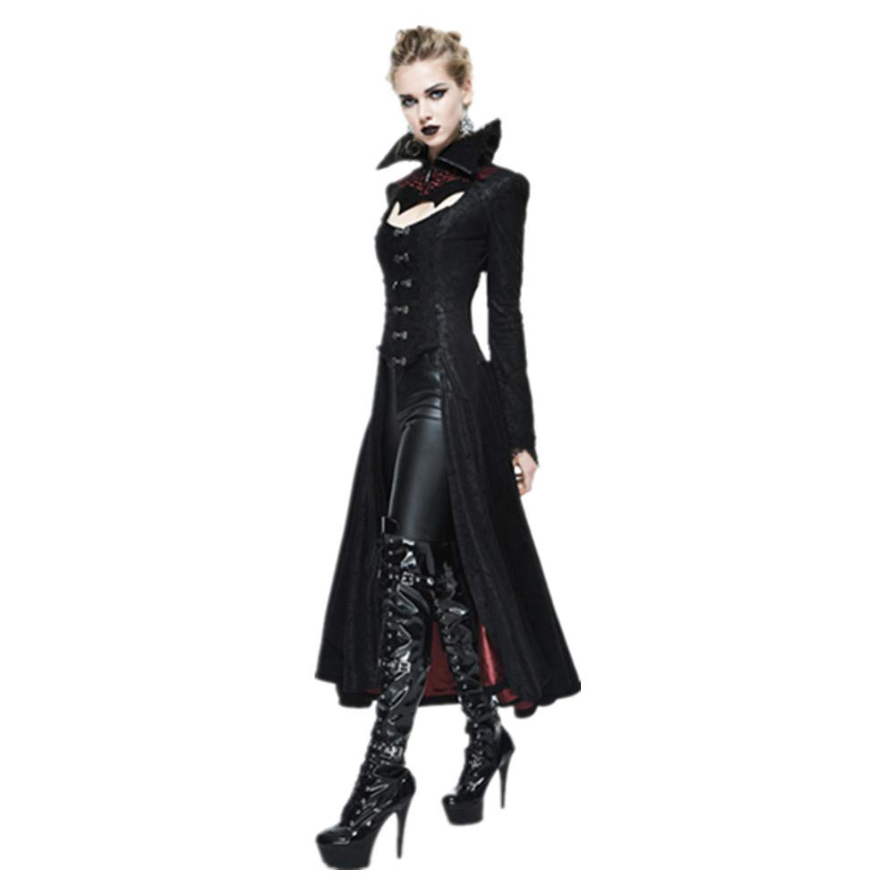 773bee889e4398 Devil Fashion Steampunk Gothic Dark Vampire Queen Style Sexy Jacket Long  Winter Coat for Women: Amazon.co.uk: Clothing